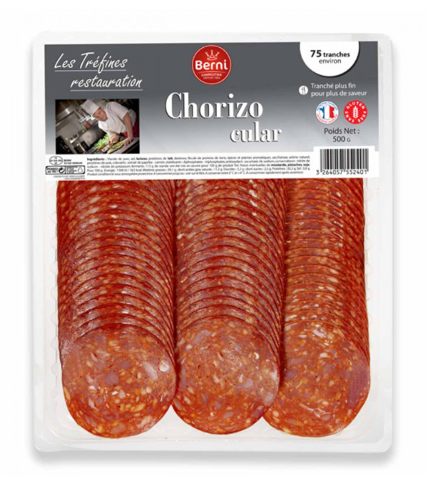CHORIZO PUR PORC X 75 TRANCHES DIAM.6CM S/ATMOSPHERE BARQUETTE 500GR