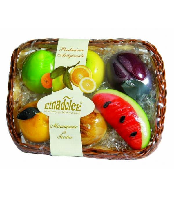 FRUITS PATE D AMANDE PANIER OVALE 300G DE SICILE